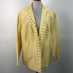 Adrianna Papell Pale Yellow Silk Open Front Jacket